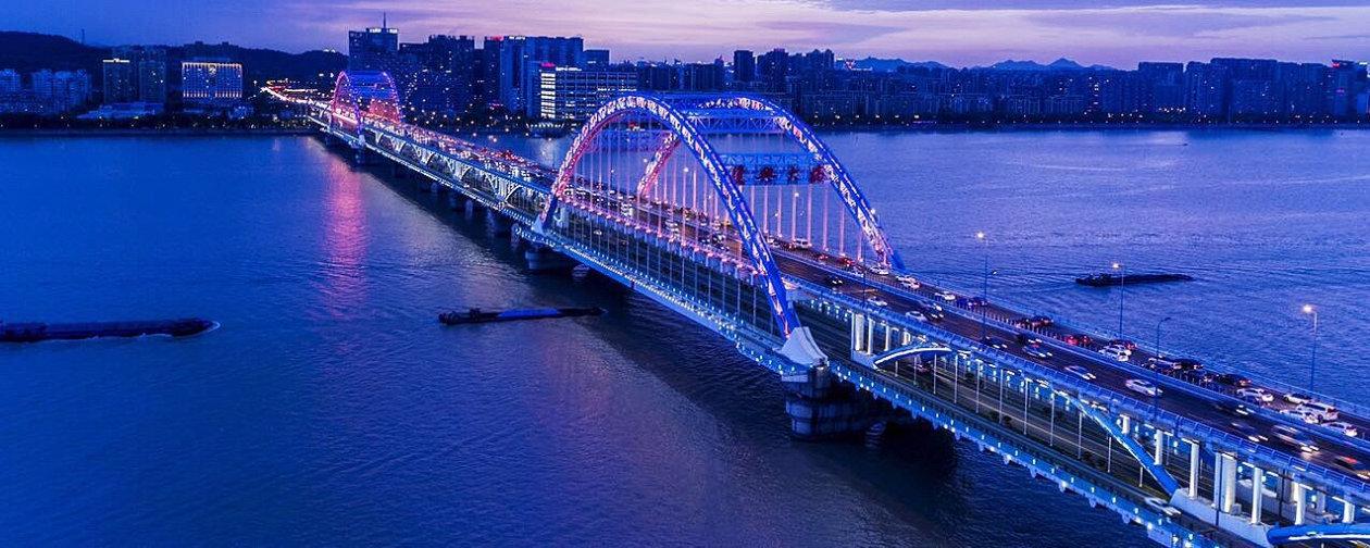 A bird-eye view of Fuxing Bridge in Hangzhou