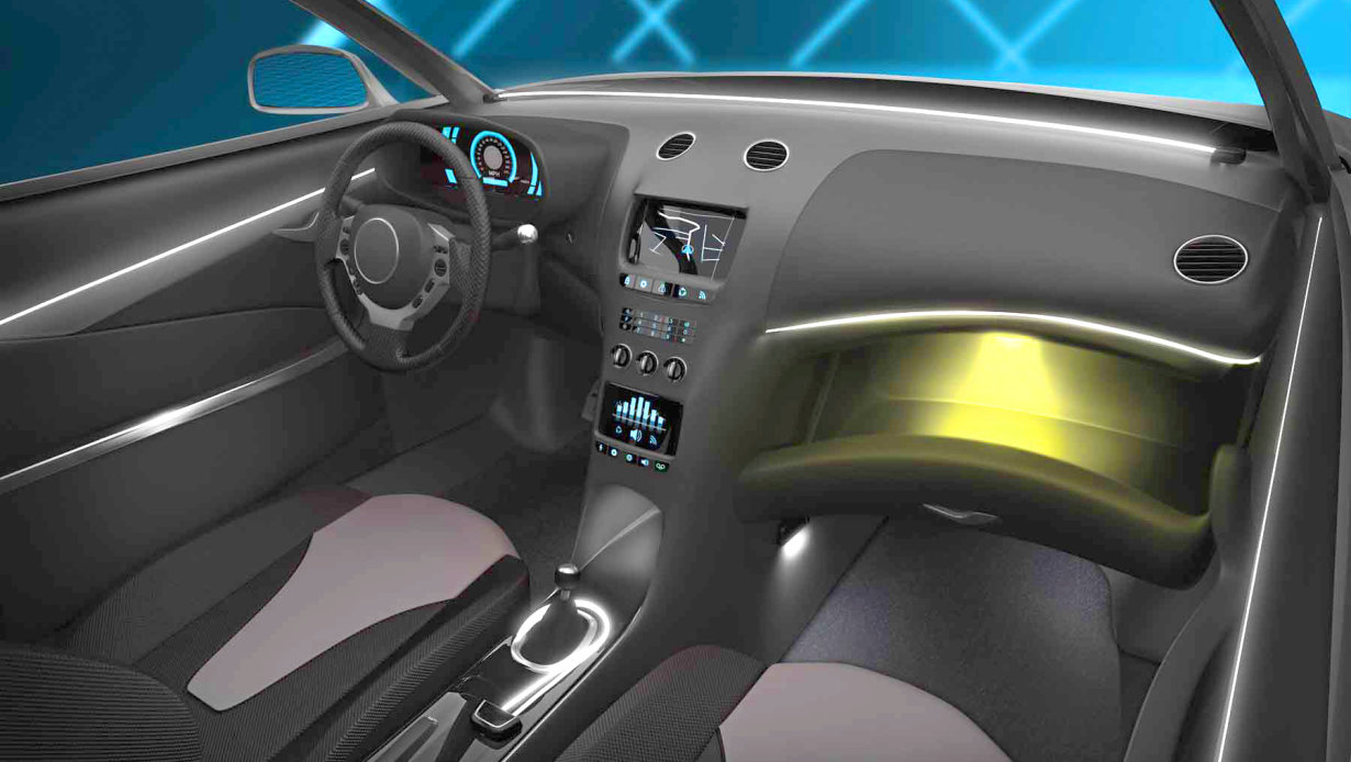 Automotive interior in yellow and white