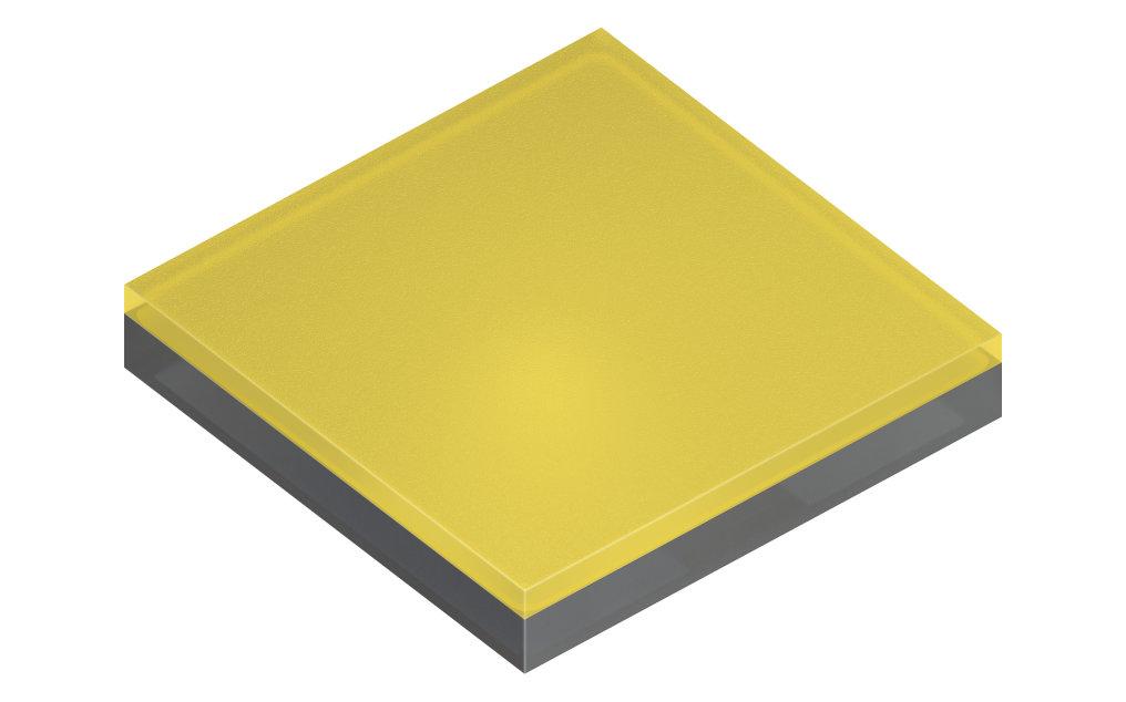 Der Prototyp der neuen Oslon Pure 1010 folgt nahezu perfekt dem Lambertschen Gesetz und erzielt beim Betrieb mit 1.000 mA eine Leuchtdichte von 237 lm/mm².