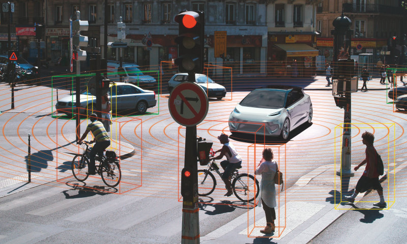 LiDAR systems use the propagation time of laser pulses to calculate the distance between the vehicle and people or objects.