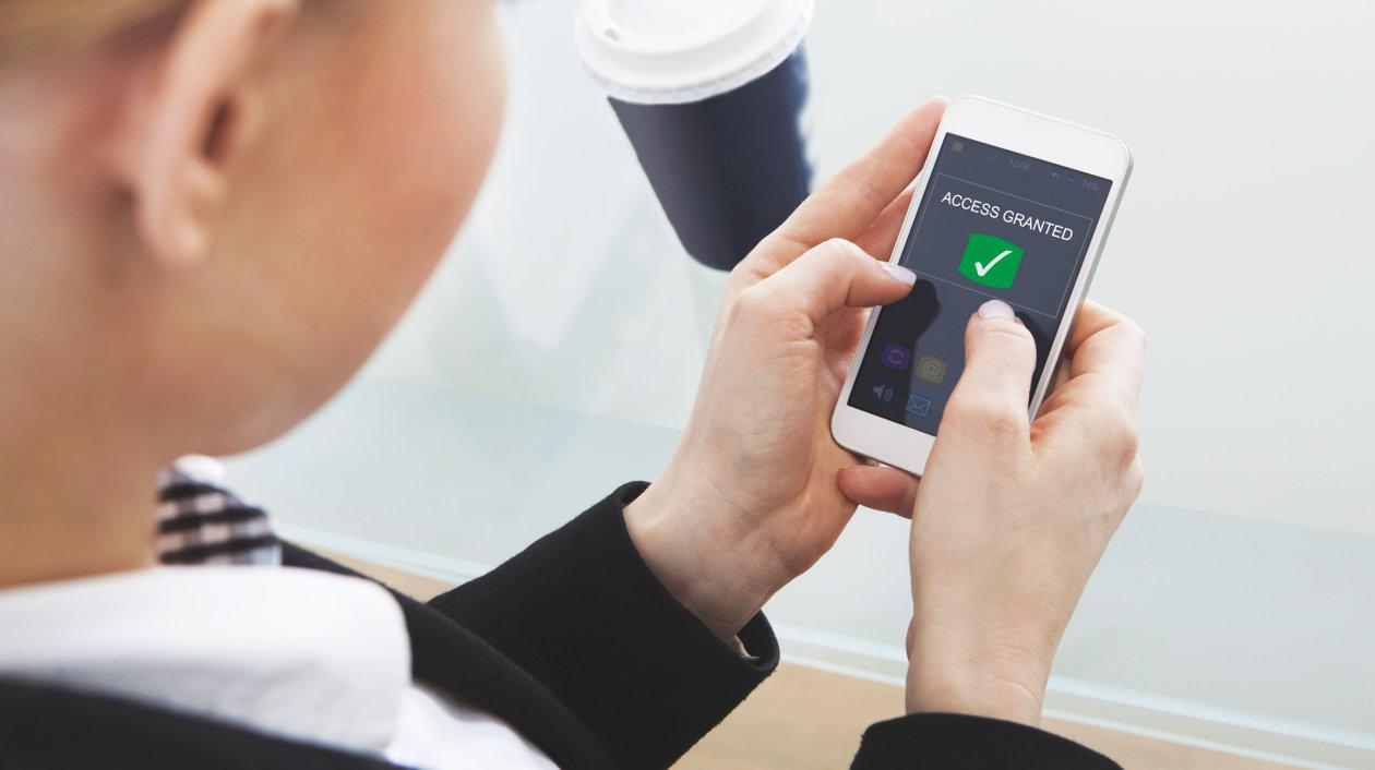 Applicaton - Iris Scan - Biometrical Identification - Business men - Smartphone