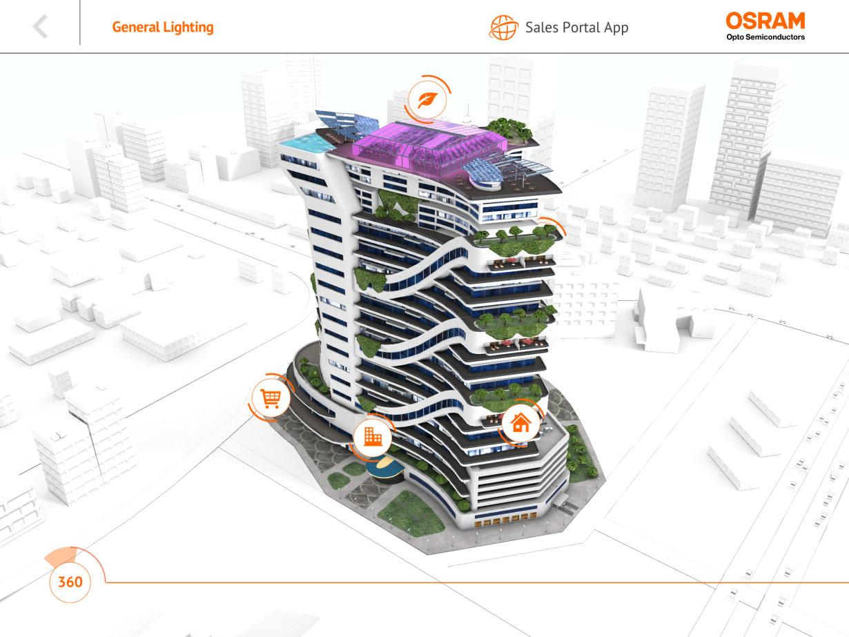 Eine neue App zeigt, wie Licht-Technologie von Osram Opto Semiconductors die Stadt der Zukunft mitgestaltet.