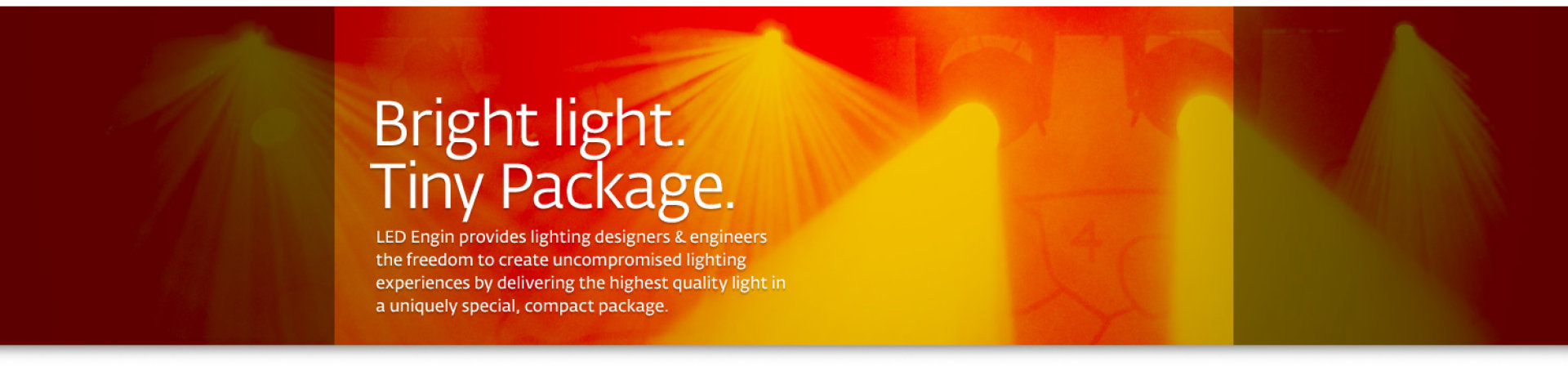 Banner for bright light, tiny packages