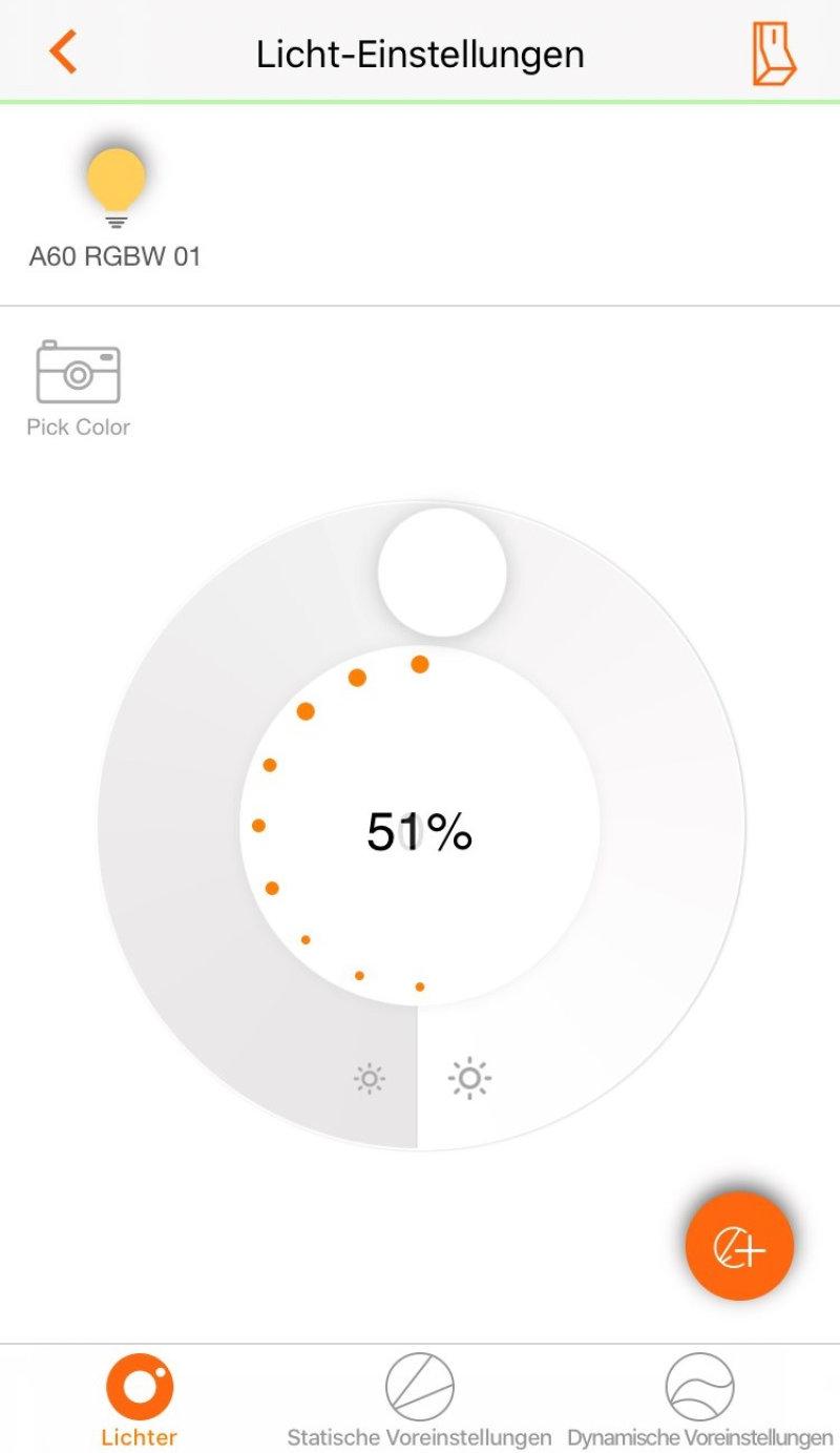 lightify app dimmen von lichtern