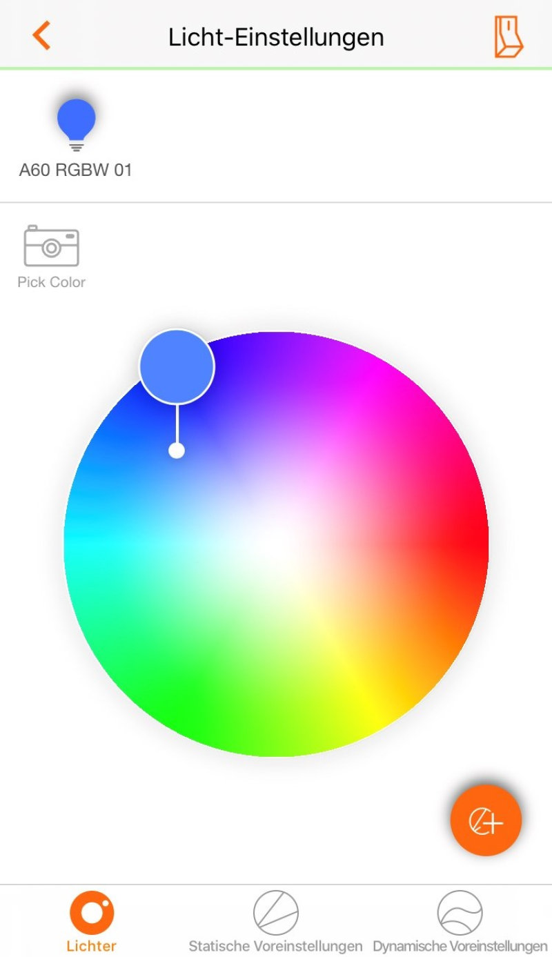 lightify app ändern der lichtfarbe