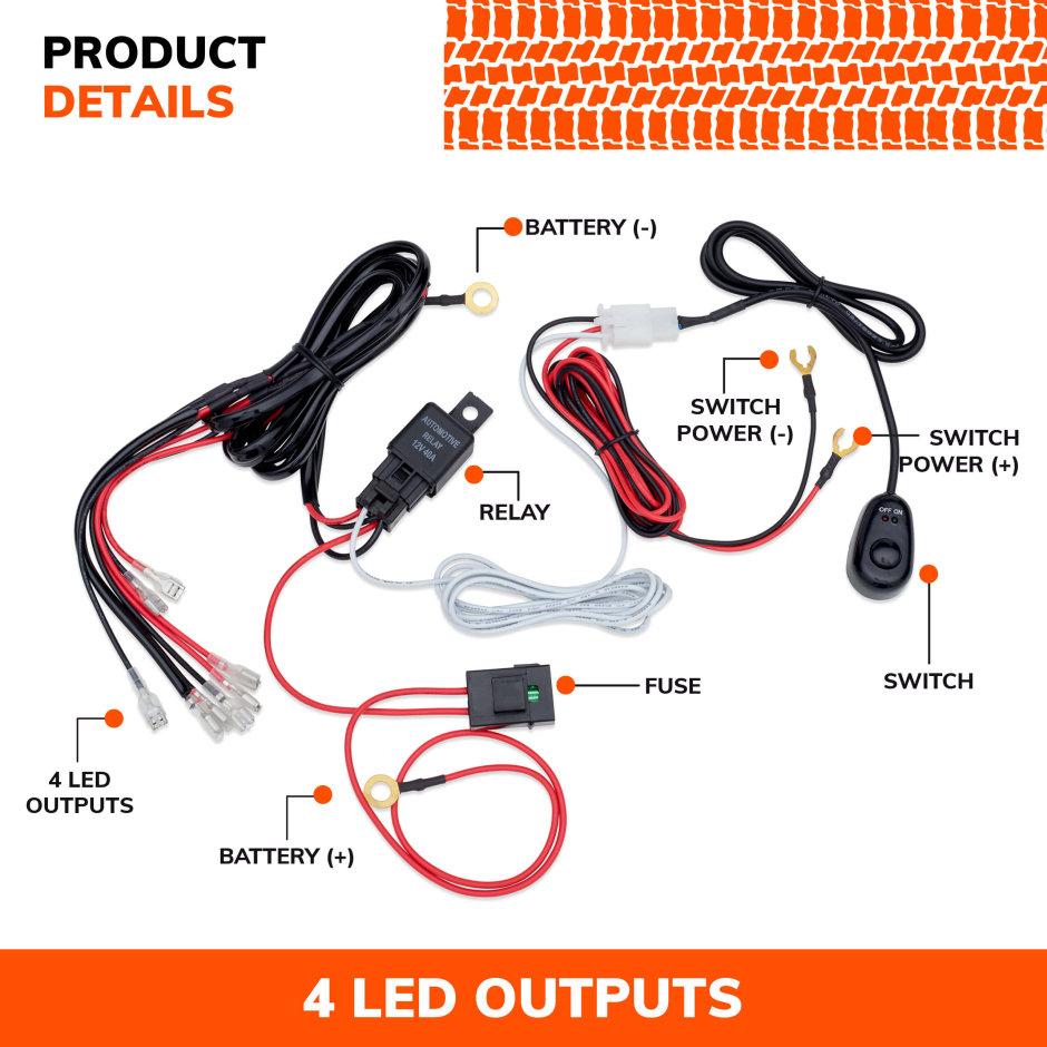 [SCHEMATICS_4FR]  Wiring Harness 4 Lights - Universal Connector | Sylvania Off-Road Lighting  | Sylvania-Automotive.com | SYLVANIA Automotive | Led Lighting Wiring Harness |  | SYLVANIA Automotive