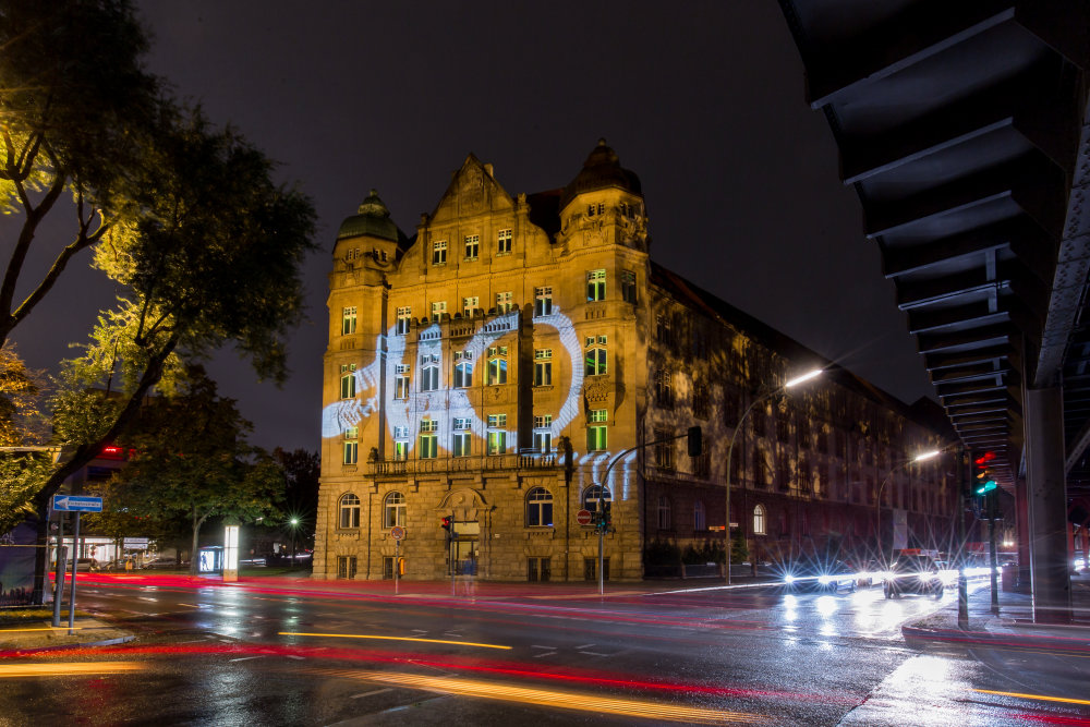 The Imperial Patent Office in Berlin illuminated to celebrate the 110-year anniversary of the brand OSRAM