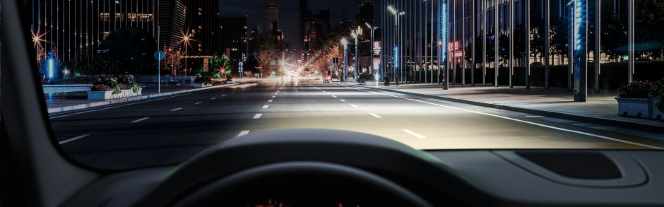 Fahrersicht mit Standard Halogenlampe