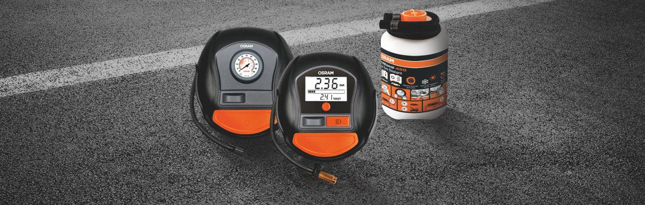 Gama de compressores e selantes para pneus