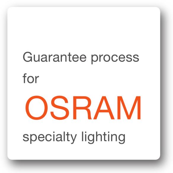 Gwarancja firmy OSRAM: procedura gwarancyjna produktów oświetlenia specjalnegoLampy oświetlenia specjalnego firmy OSRAM są wykorzystywane w najróżnorodniejszych zastosowaniach. To innowacyjne produkty wyróżniające się wysoką jakością pod względem technologicznym, dokładnie przetestowane i poddane surowej kontroli w systemie zapewnienia jakości firmy OSRAM. Jeśli wciąż masz powody do niezadowolenia, w tym miejscu można znaleźć informacje dotyczące gwarancji udzielanych przez firmę OSRAM.