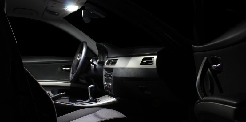 Vehicle interior with LED light