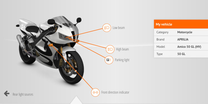 Vehicle Lamp Finder for motorycle lamps