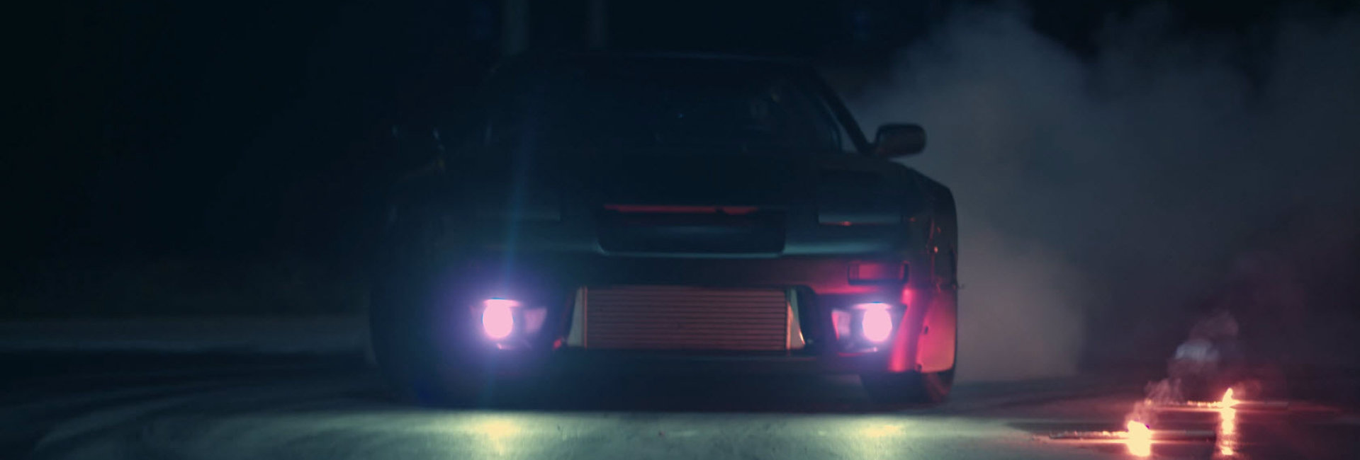 Drift cars with colorful LED fog lights by Osram